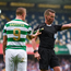 14 July 2017; Leigh Griffiths of Celtic is shown a yellow card after having missiles thrown at him during the UEFA Champions League Second Qualifying Round First Leg match between Linfield and Glasgow Celtic at the National Football Stadium in Windsor Park, Belfast. Photo by David Fitzgerald/Sportsfile