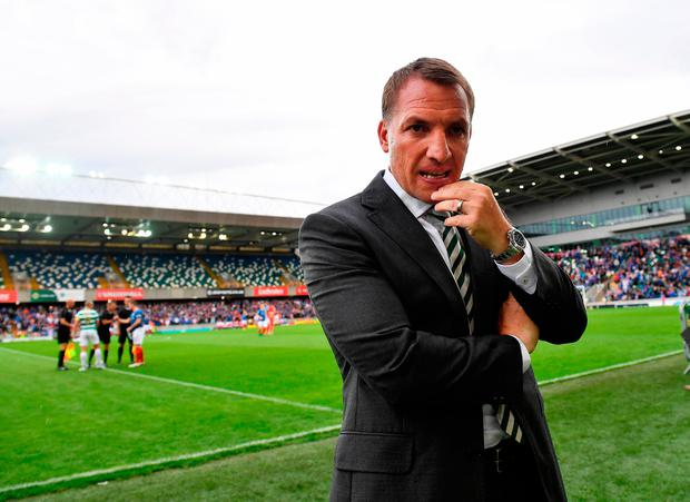 Brendan Rodgers watches from the sidelines. Photo by Charles McQuillan/Getty Images