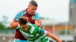 Jonathan Walters in action for Burnley against Tom Linthorst during last night's friendly at Tallaght Stadium. Walters and Robbie Brady were both on target as the visitors beat a Shamrock Rovers XI 4-0. Photo by Piaras Ó Mídheach/Sportsfile