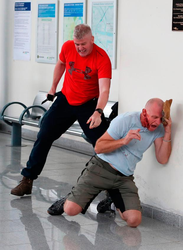 The exercise involved attackers targeting people at the station before taking hostages on a train Photo: Niall Carson/PA Wire