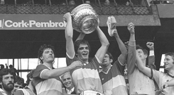 Offaly captain Richie Connor celebrates after defeating Dublin in the 1980 Leinster SFC final. Photo: Sportsfile