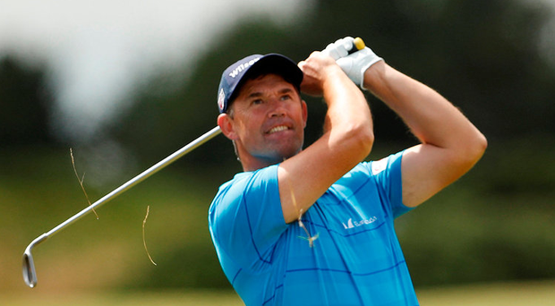 Pádraig Harrington plays an approach shot during the second round of the Scottish Open at Dundonald Links. Photo: Reuters
