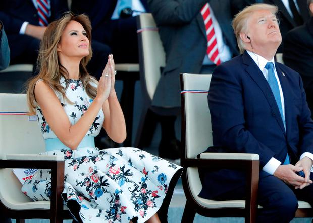 US President Donald Trump and wife Melania attend the Bastille Day military parade on the Champs-Elysees in Paris. Trump is said to have been impressed by the French military celebrations. Photo: Reuters