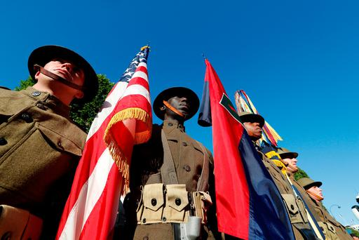 A US soldier wearing a World War I unifrom at the Bastille Day parade. Photo: Reuters