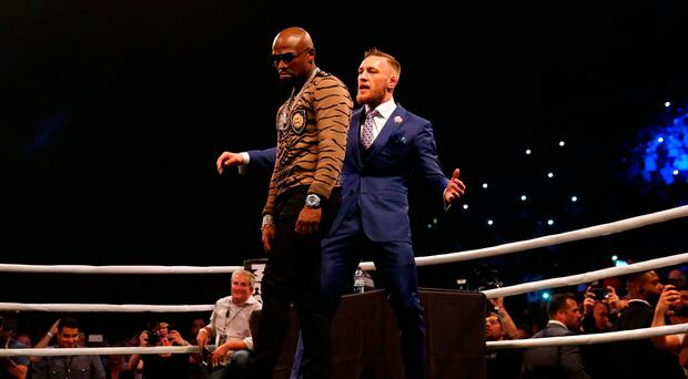 Connor McGregor (right) and Floyd Mayweather during the press conference at the SSE Arena, Wembley: Scott Heavey/PA Wire
