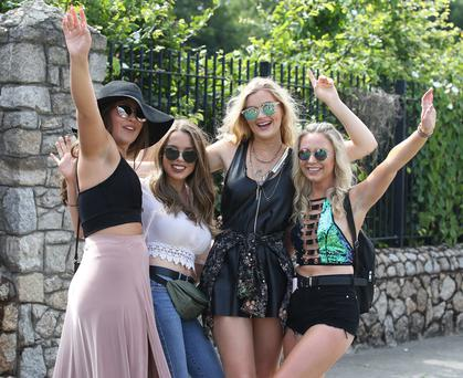 From L to R: Becky Lee, Limerick, Louise Kehoe, Wexford, Nora Casey,Limerick, and Laura Maher, Kilkenny pictured before Longitude music festival at Marlay Park. Picture credit; Damien Eagers