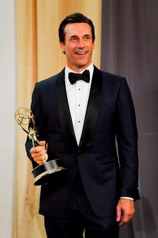 Jon Hamm winning an Emmy in 2015