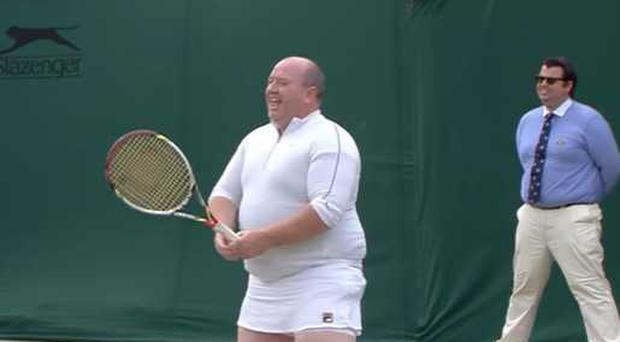 Chris Quinn joined in a game at Wimbledon.