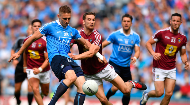 25 June 2017; Eoghan O'Gara of Dublin in action against Kevin Maguire of Westmeath during the Leinster GAA Football Senior Championship Semi-Final match between Dublin and Westmeath at Croke Park in Dublin. Photo by Eóin Noonan/Sportsfile
