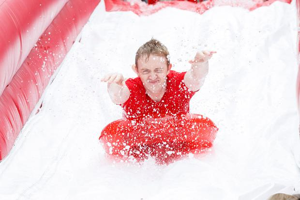 Paul Bonass pictured on the 98FM Big Slide.