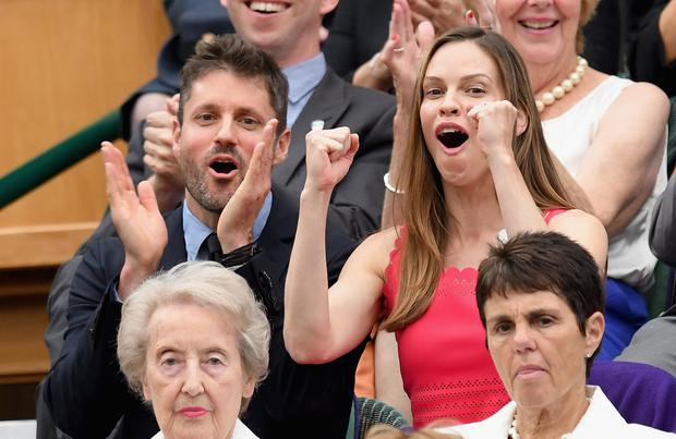 Hilary Swank and Philip Schneider attend day twelve of the Wimbledon Tennis Championships at the All England Lawn Tennis and Croquet Club on on July 15, 2017 in London, United Kingdom. (Photo by Karwai Tang/WireImage)