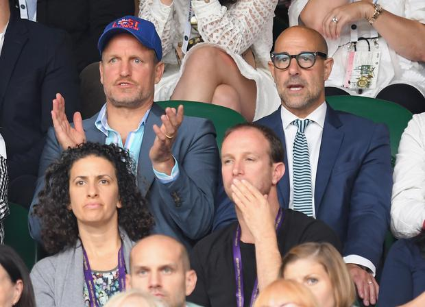 Woody Harrelson and Stanley Tucci attend day twelve of the Wimbledon Tennis Championships at the All England Lawn Tennis and Croquet Club on on July 15, 2017 in London, United Kingdom. (Photo by Karwai Tang/WireImage)