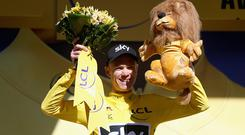RODEZ, FRANCE - JULY 15: Christopher Froome of Great Britain riding for Team Sky celebrates retaining the yellow jersey after stage 14 of the Le Tour de France 2017, a 181km stage from Blagnac to Rodez on July 15, 2017 in Rodez, France. (Photo by Bryn Lennon/Getty Images)