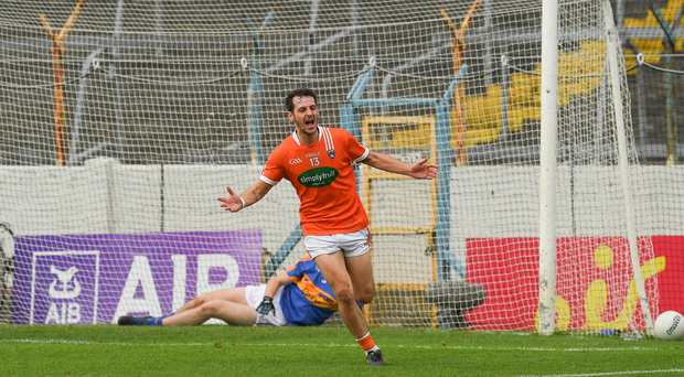 15 July 2017; Jamie Clarke of Armagh celebrates scoring a goal in the 70th minute of the GAA Football All-Ireland Senior Championship Round 3B match between Tipperary and Armagh at Semple Stadium in Thurles, Co Tipperary. Photo by Ray McManus/Sportsfile