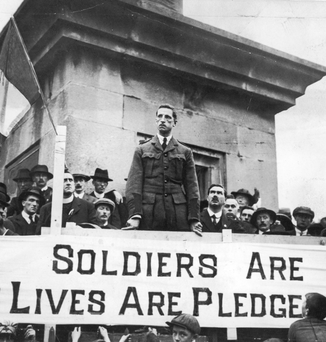 Birth of a nation: Eamon de Valera speaks from O'Connell's Monument in Ennis, Co Clare, in midsummer 1917 Photo: Hulton Archive/Getty Images