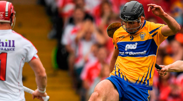 Cathal Malone fires in a shot at Cork goalkeeper Anthony Nash; Clare were left to rue a succession of missed opportunities. Photo: Sportsfile