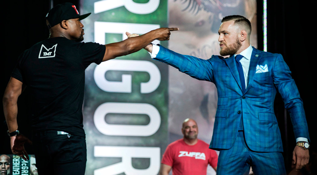 Face off: Floyd Mayweather, left, and Conor McGregor exchange harsh words during a promotional stop in Toronto last Wednesday for their upcoming fight in Las Vegas Photo: Christopher Katsarov/The Canadian Press via AP
