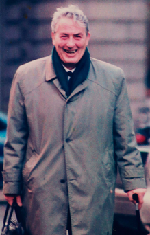 Swansong: Paul Muldowney on the day he retired from the Supreme and High Courts reporting team in 2005. Photo: Collins