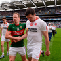 6 August 2016; Andy Moran of Mayo shakes hands with Seán Cavanagh of Tyrone after the GAA Football All-Ireland Senior Championship Quarter-Final match between Mayo and Tyrone at Croke Park in Dublin. Photo by Piaras Ó Mídheach/Sportsfile