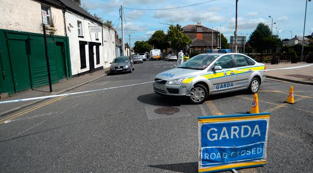 General view of Gardai forensics at scene on North Street, Swords, Dublin. Pic: Caroline Quinn