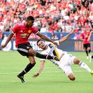 CARSON, CA - JULY 15: Marcus Rashford #19 of Manchester United scores his second goal of the game past Hugo Arellano #21 of Los Angeles Galaxy to take a 2-0 lead during the first half at StubHub Center on July 15, 2017 in Carson, California. (Photo by Harry How/Getty Images)