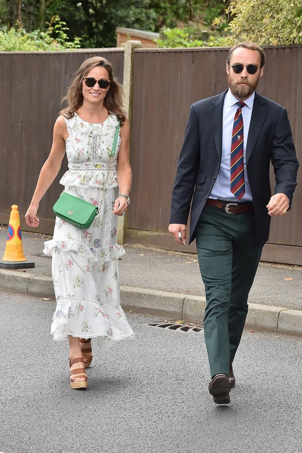 Pippa Middleton & James Middleton seen arriving for day thirteen at The Championships at Wimbledon on July 16, 2017 in London, England. (Photo by HGL/GC Images)