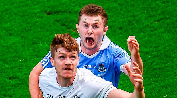 Kevin Feely of Kildare in action against Jack McCaffrey of Dublin during the Leinster GAA Football Senior Championship Final match between Dublin and Kildare at Croke Park in Dublin. Photo by Seb Daly/Sportsfile