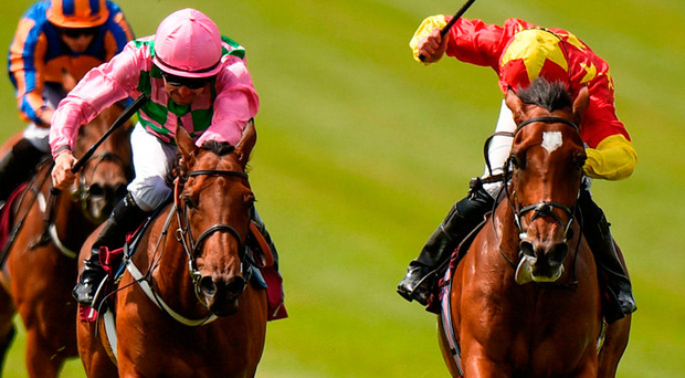 Elizabeth Browning, (R) under Seamie Heffernan, edges out Wilamina at the Curragh yesterday. Photo: Sportsfile