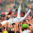 Mercedes' Lewis Hamilton is held aloft by the Silverstone crowd after winning the British Grand Prix for the fifth time in his career. Photo: Getty Images