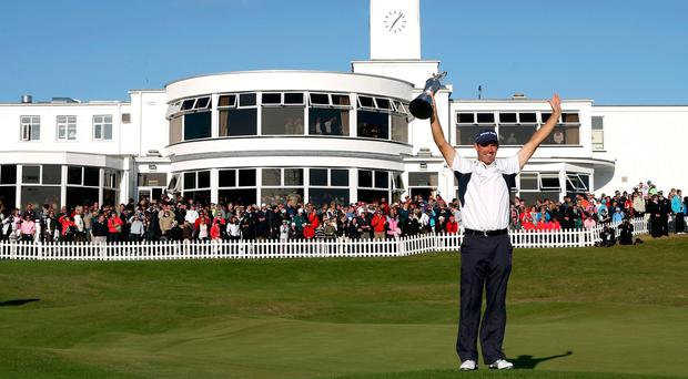Padraig Harrington lifts the Claret Jug after his four-stroke win of the 137th Open Championship in 2008 at Royal Birkdale. Photo: Getty Images