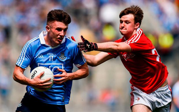 Dublin's James Doran is put under pressure by Nicky Browne. Photo: Seb Daly/Sportsfile
