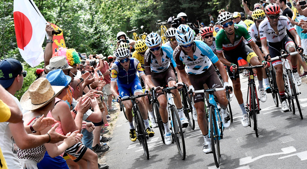 Quick-Step's Daniel Martin, AG2R duo Romain Bardet and Alexis Vuillermoz, Astana's Fabio Aru and Trek-Segafredo's Alberto Contador set the pace in the yellow jersey group on Stage 15 of the Tour de France. Photo: Reuters