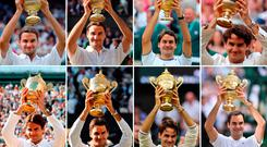 Switzerland's Roger Federer holding the Wimbledon Championships trophy after winning each of his eight mens singles titles at Wimbledon in (top L-R) 2003, 2004, 2005, 2006, (bottom L-R) 2007, 2009, 2012 and July 16, 2017. Roger Federer won a record eighth Wimbledon title and became the tournament's oldest champion on Sunday with a straight-sets victory over injury-hit Marin Cilic who dramatically broke down in tears midway through the final. Photo: Getty Images