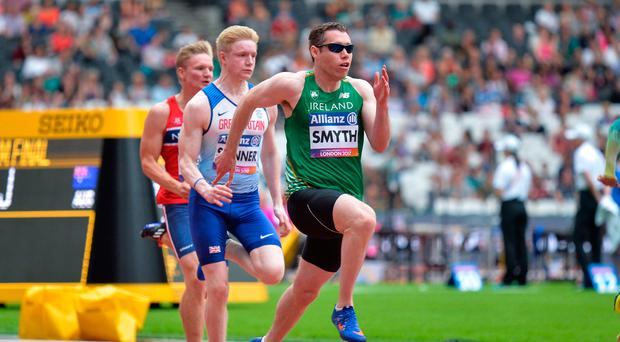 Jason Smyth of Ireland, Zak Skinner, first left, of Great Britain and Vegard Dragsund Nilsen of Norway, second left, competing in the 100m during the 2017 Para Athletics World Championships at the Olympic Stadium in London. Photo by Luc Percival/Sportsfile