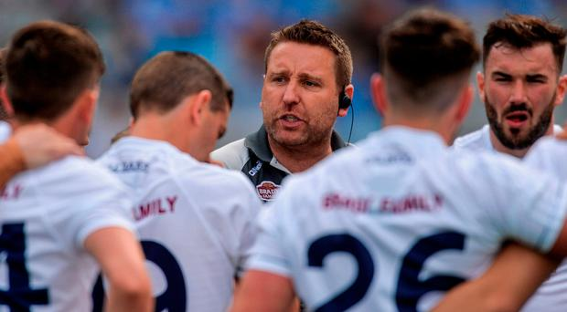Kildare manager Cian O'Neill talks to his players before yesterday's Leinster SFC final which ended in defeat to Dublin but still provided plenty encouragement. Photo: Piaras Ó Mídheach/Sportsfile