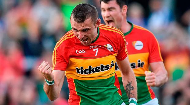 Gary Kelly celebrates after scoring Carlow's goal during their GAA Football All-Ireland Senior Championship Round 3B match against Monaghan at Netwatch Cullen Park. Photo: David Maher/Sportsfile