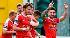 Cork City's Sean Maguire celebrates scoring his side's first goal at his last game for the club. Photo: Sportsfile