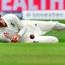 England's captain Joe Root misfields the ball on the third day of the second Test match between England and South Africa at Trent Bridge. Photo: Getty Images