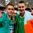 Jason Smyth and Michael McKillop celebrate winning gold at the Para Athletics World Championships in London's Olympic Stadium. Photo: Sportsfile