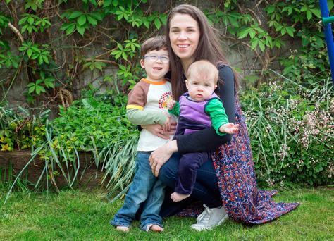 Katriona Woods with her children Milo (3) and Nancy (6 months). Photo: Tony Gavin