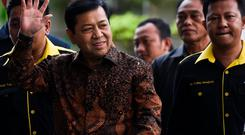 The speaker of Indonesia's parliament Setya Novanto walks as he arrives at Corruption Eradication Commision building (KPK) in Jakarta, Indonesia, July 14, 2017 in this photo taken by Antara Foto.