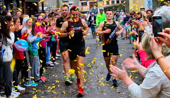 Shane Finn at the finish line in Dingle last weekend