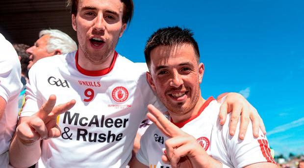 Tyrone's Ronan O'Neill (right) and Conall McCann celebrate after winning the Ulster GAA Football Senior Championship Final. Photo: Oliver McVeigh/Sportsfile