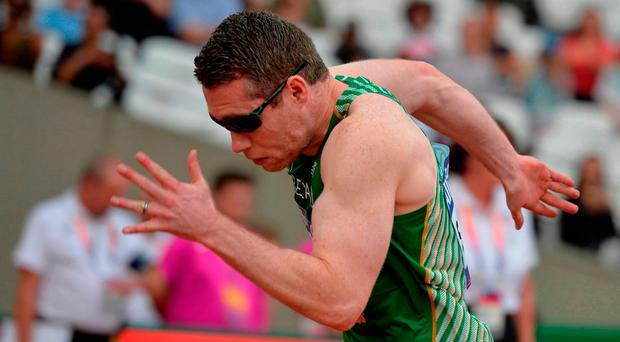 Jason Smyth eased over the line in a new season's best of 21.89 seconds. Photo by Luc Percival/Sportsfile