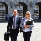 Sgt Maurice McCabe with his wife Lorraine at the Disclosures Tribunal in Dublin Castle yesterday. Photo: Collins