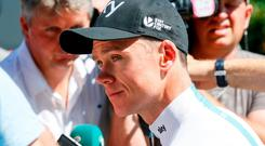 Yellow jersey leader Team Sky rider Chris Froome