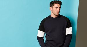 Bernard Brogan models his V by Very for Littlewoods Ireland range: he wears a crew neck jumper, €35 and slim tapered jeans, €38