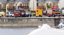 Emergency services at the scene of the tragedy