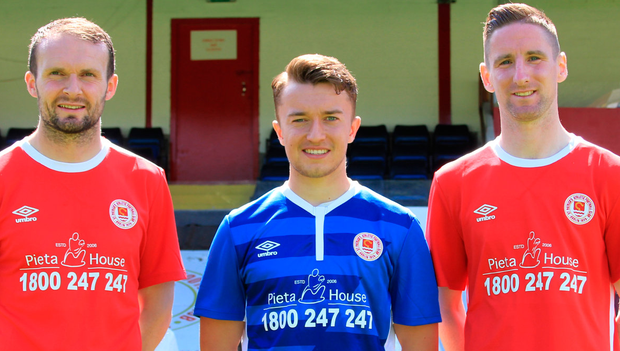 St Patrick's Athletic players Conan Byrne, Darragh Markey and captain Ian Bermingham, pictured at the launch of the club's partnership with Pieta House at Richmond Park, Inchicore yesterday.