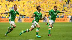 Wes Hoolahan celebrates after scoring against Sweden at Euro 2016. Photo: Stephen McCarthy/Sportsfile
